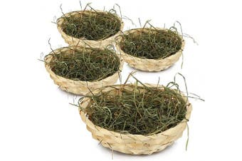 (2 Pieces - Raffia Basket - Mountain Meadow Hay) - com-four® 4x Easter baskets with decorative grass - Easter baskets with real mountain meadow hay - Bast basket with green Easter grass (2 pieces - raffia basket - mountain meadow hay)