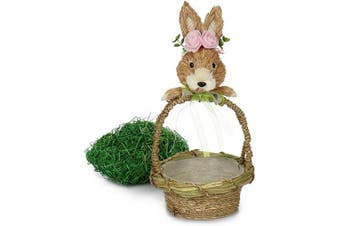 (Easter Grass Basket - 2 Parts) - com-four® handle basket with Easter bunny and Easter grass, decorative basket as Easter nest for Easter eggs and gifts, with rabbit application [selection varies] (Easter grass basket - 2 parts)