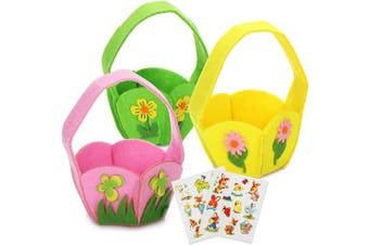(26 Pieces - Felt Basket With Sticker) - com-four® 26-piece decoration & gift set for Easter - colourful little felt baskets and adhesive stickers with Easter motifs - perfect for Easter eggs (26 pieces - felt basket with sticker)