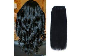 (50cm , 1#) - ABH AmazingBeauty Hair Miracle Wire Hair Extensions - Invisible Miracle Wire 100% Remy Human Hair, Jet Black 1#, 50cm