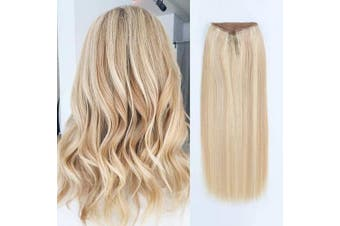 (41cm , P18/613#) - ABH AmazingBeauty Hair Miracle Wire Hair Extensions - Invisible Miracle Wire Remy Human Hair, 18-613 Dirty Blonde with Warm Beach Blonde Highlights, 41cm