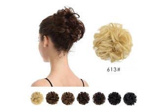 (613# Bleach Blonde) - 100% Human Hair Bun, BARSDAR Messy Bun Scrunchies Ponytail Extensions Curly Hair Bun Hair Piece for Women/Kids Tousled Updo Donut Chignons (613# Bleach Blonde)