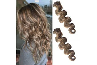 (60cm , #4/613) - Body Wave Clip in Hair Extensions Human Hair Natural Curly Wavy Brazilian Real Remy Hair Extensions Clip on Medium Brown with 613 Bleach Blonde Highlights Double Weft Full Head 70g 7pcs 16 Clips 60cm