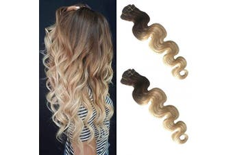 (50cm , #2T613) - Ombre Clip in Human Hair Extensions Curly Body Wave 100% Brazilian Virgin Hair Clip on Real Remy Hair Extensions for Black Women Dark Brown to 613 Bleach Blonde Highlights 70g 7pcs 16 Clips 50cm