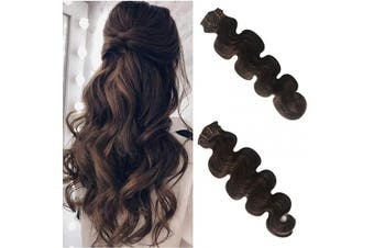 (46cm , #2) - Body Wave Clip in Human Hair Extensions Curly Real Remy Hair Extensions Clip on Double Weft Full Head Soft Natural Wavy Brazilian Virgin Hair Extensions for Women Dark Brown 70g 7pcs 16 Clips 46cm