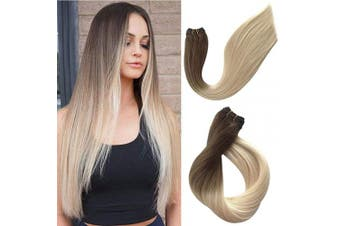 (60cm -120G, #8T60) - Real Human Hair Extensions Sew in Weft Hair Weave Bundles Brazilian Virgin Remy Hair Weft Extensions Seamless Ombre Full Head Double Weft Ash Brown to 60 Platinum Blonde Silky Straight 120g 60cm