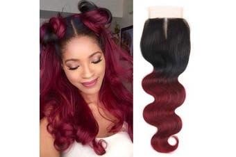 (1 Piece Closure 41cm (Middle Part)) - Alisfeel Ombre Body Wave 100% Human Hair Lace Closure1B Burgundy Middle Part 41cm Closure Bleached Knots Preplucked (Middle Part 41cm )