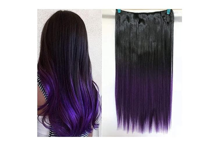 60cm Straight Black Violet 43cm 50cm 60cm 60cm Synthetic One Piece Straight Wavy Curly Clip In Ombre Hair Extensions 60cm Straight Black Violet Kogan Com