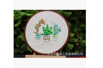(Potted Plant) - Embroidery Starter Kit with Pattern, Cross Stitch Kit Include Stamped Embroidery Clothes with Floral Pattern, Plastic Embroidery Hoops, Colour Threads and Tools Needlepoint Kits (Potted Plant)