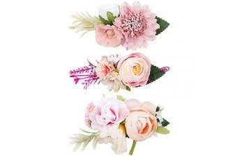 (FLOWER-A) - CN 3pcs Floral Hair Clips Flowers Crown Hairpins Rose Beach Party Bridal Accessories for Teens Kids Women Girls Women