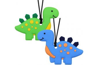 (Blue+green) - Chew Necklace for Boys and Girls - Dinosaur Chewable Silicone Pendant for Teething, Autism, Biting, ADHD, SPD, Sensory Oral Motor Aids Chewy Teether for Kids, Chewy Toy Stegosaur