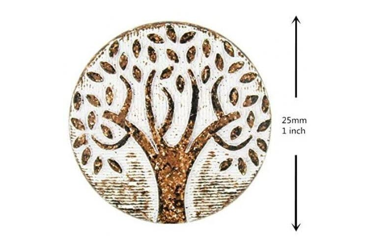 (White Rust) - Bezelry 10 Pieces Big Tree Pattern White Rust Varnished Metal Shank Buttons. 25mm (1 inch)