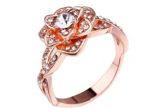 (6, Rose Gold) - Brishow Women's Engagement Rings Romatic Flower Ring Promise Eternity Wedding Bands For Women Anniversary CZ Ring Size 5-10 (6, Rose Gold)