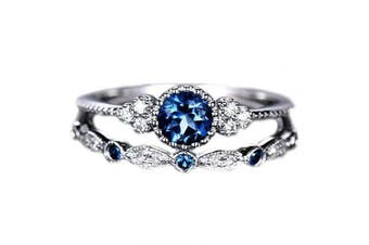 (7, Blue) - Brishow Women's Engagement Rings Promise Eternity Wedding Bands Vintage Fashion Style Bridal Ring Set For Women Anniversary CZ Ring Size 5-10 (7, Blue)