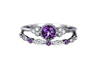 (7, Purple) - Brishow Women's Engagement Rings Promise Eternity Wedding Bands Vintage Fashion Style Bridal Ring Set For Women Anniversary CZ Ring Size 5-10 (7, Purple)