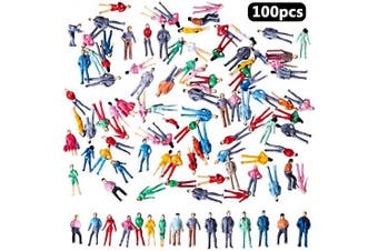 BESTZY 100pcs Standing Pose Mini Painted Model People Figures(1:87) HO Scale Model Train Park Street Passenger People Toys Dollhouse Miniature Accessories