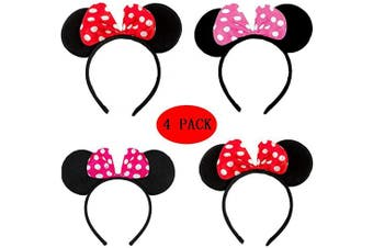 BESTZY 4 Pcs Mickey Mouse Ear Headband, Red Bow Minnie Mouse Disney Fancy Dress Party Ears Headband for Kids Adults Birthday Party Bag Favours