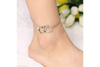 (Silver) - Yean Boho Anklet Heart Ankle Foot Chain Beach Foot Jewellery for Women and Girls (Silver)
