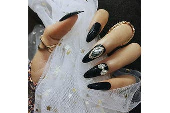 Brishow Coffin False Nails Black Long Fake Nails Ballerina Matte False Nail Tips Full Cover Stick on Nails 24pcs for Women and Girls