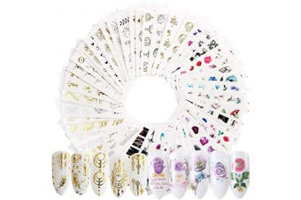 54 Sheets Nail Art Stickers Water Transfer Decals, Flower Nail Decals Stickers for Women Girls - 3D Self Adhesive Colourful Nail Art Designs, Various Floral Patterns (1000 Pieces) (A)