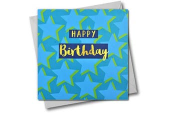 Happy Birthday Greeting Card, Stars, Text Foiled in Shiny Gold, Open, for Him, for Her, Friend, Mum, Dad, Son, Friend, Sister, Brother