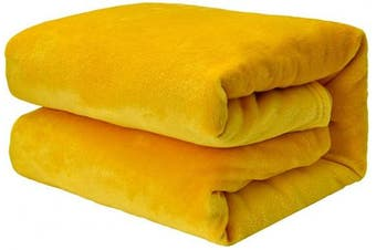 (Yellow, Double(150 x 200 cm)) - EHC Super Soft Fluffy Snugly Solid Flannel Fleece Throws for Sofa Bed Blankets, Yellow 150 cm x 200 cm