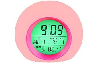 (Pink) - YUES Digital Alarm Clock, Bedside Wake Up Light with Calendar and Thermometer, up to 8 Glowing Colours Changing and 6 Natural Alarm Sound modes-Pink