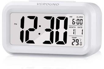 (White) - VGROUND Digital Alarm Clock 12cm Display LED Digital Alarm Clock with Snooze Activated Night Light, White