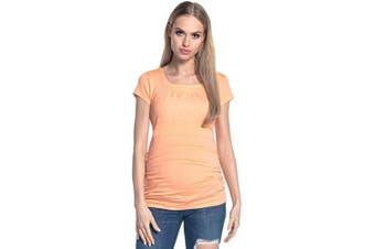 (14-16, Apricot) - HAPPY MAMA. Women's Maternity Nursing Double Layer T-Shirt Round Neckline. 136p