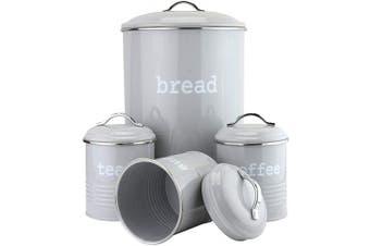 (Grey) - EHC Set of 4 Round Tea, Coffee & Sugar With Bread Bin Storage Canisters Jars- Grey