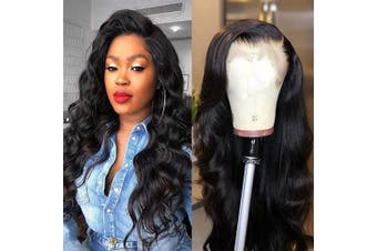 (41cm , body wave wig) - Body Wave Lace Front Wig Human Hair With Baby Hair Brazilian Virgin Human Hair Wig for Women 150 Density 13x 4 Free Part Swiss Lace Natural Black 41cm