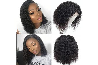 (25cm , deep wave wig) - Coisini Hair Lace Front Wig Human Hair Deep Wave Wig 150% Density 13x 4 Short Curly Wet and Wavy Pre-Plucked Virgin Human Hair Wig 25cm