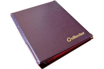 Collector Coin Album for 200 MEDIUM sizes coins 50p 50 pence £1 £2 €1 €2 - 10 pages and red dividers (200 Coins, Brown)