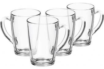 com-four® 4X Tea Glass - Glass Cups - Glass Mugs for Hot Drinks - Tea, Cocoa, Coffee, Latte, Espresso and Cappuccino - Glass Tea Cups - Glass Coffee Cups - Latte Glasses (04 Pieces - 315ml)