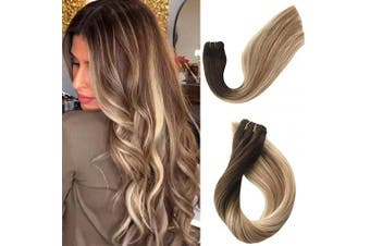 (30cm -80G, #4T12/60) - Human Hair Weft Extensions Sew in Real Remy Hair Weave Bundles Brazilian Virgin Hair Seamless Double Weft Full Head Ombre Balayage Brown to Golden Brown with Platinum Blonde Highlights 80g 30cm