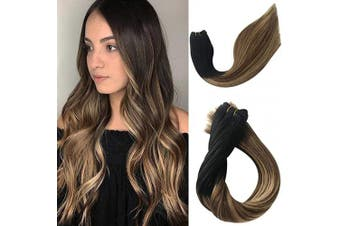 (36cm -80G, #1BT6/27) - Sew in Hair Weft Human Hair Extensions Real Remy Hair Weave Bundles 100% Brazilian Virgin Hair Extensions Balayage Black to Brown with Strawberry Blonde Highlights Double Weft Full Head 80g 36cm