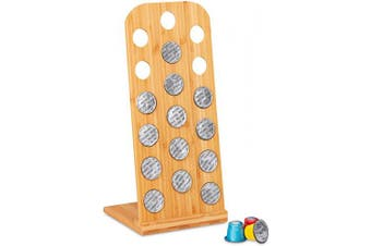 Relaxdays Capsule Holder for 18 Nespresso Pods, Coffee Accessory, Bamboo Storage Rack, HxWxD: 37 x 16 x 15 cm, Natural