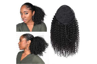(60cm , Curly, Wrap Drawstring) - Alisfeel Human Hair Curly Ponytail for Women Brazilian Natural Black Clip on Ponytails Extensions Remy Human Hair Ponytail with Draw String 110g (24, curly)