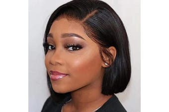 (36cm , side part) - Abijale Hair Short Bob Wigs Straight Lace Front wigs Human Hair For Black Women Brazilian Virgin Hair Pre Plucked With Baby Hair Natural Hairline (36cm , side part)