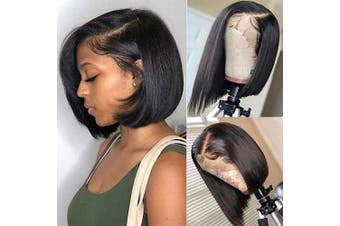 (25cm , side part) - Abijale Hair Short Bob Wigs Straight Lace Front wigs Human Hair For Black Women Brazilian Virgin Hair Pre Plucked With Baby Hair Natural Hairline (25cm , side part)