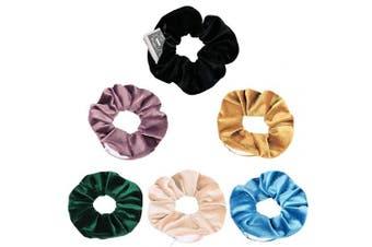 (6 Colors) - BSEKT Zipper Scrunchies, Pocket Scrunchie, SECRET & HIDDEN, Velvet Hair Ties Bracelet, Compatible with Apple AirPods 2 & 1, Key Money Chapstick Storage Bag, Elastics Hair Band (6 Colours)