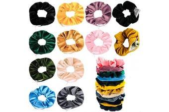 (12 Colors) - BSEKT Zipper Scrunchies, Pocket Scrunchie, SECRET & HIDDEN, Velvet Hair Ties Bracelet, Compatible with Apple AirPods 2 & 1, Key Money Chapstick Storage Bag, Elastics Hair Band (12 Colours)