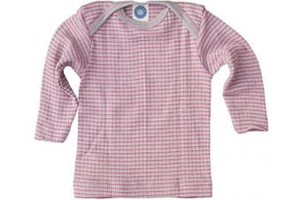 (16-24 Months (Height 34-36) (86/92), Grey/Pink/Natural) - Cosilana - Baby T-Shirt Long Sleeve, 45% Organic Cotton, 35% Organic Merino Wool, 20% Silk
