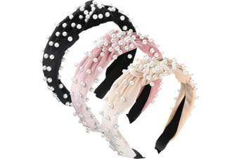 (Beige, Pink, Black) - 3 Pieces Pearls Headband Wide Hair Hoop Velvet Pearls Headband Vintage Twisted Headwear for Girl Woman Hair Accessories (Beige, Pink, Black)