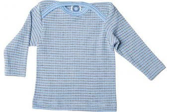 (3-7 Months (Height 23-27) (62/68), Blue/Brown/Natural) - Cosilana - Baby T-Shirt Long Sleeve, 45% Organic Cotton, 35% Organic Merino Wool, 20% Silk