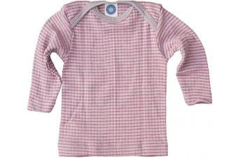 (2-3 Years (Height 39-41) (98/104), Grey/Pink/Natural) - Cosilana - Baby T-Shirt Long Sleeve, 45% Organic Cotton, 35% Organic Merino Wool, 20% Silk