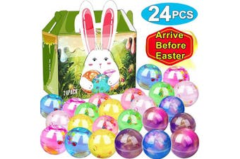 (24 PCS Galaxy Slime) - 24 Pack Easter Basket Stuffers Eggs Slime, Easter Eggs Slime Kit Galaxy Clear Crystal Party Favour Slime Balls in a Bunny Delicate Gift Box for Easter Decorations Easter Basket Gifts for Toddlers Kids