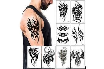 (Pattern5) - Temporary Tattoos Big Tribal Totem Tattoo Sticker for Men Women Black Large Body Art Makeup Fake Tattoo Waterproof Removable (Pattern5)