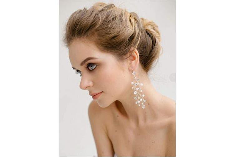 (Rose Gold) - Denifery Handmade Earrings Dainty Bridal Earrings Bohemian Vine-Like Earrings Pearls Crystals Tiara Long Bridesmaid Earrings Wedding Ornaments (Rose Gold)