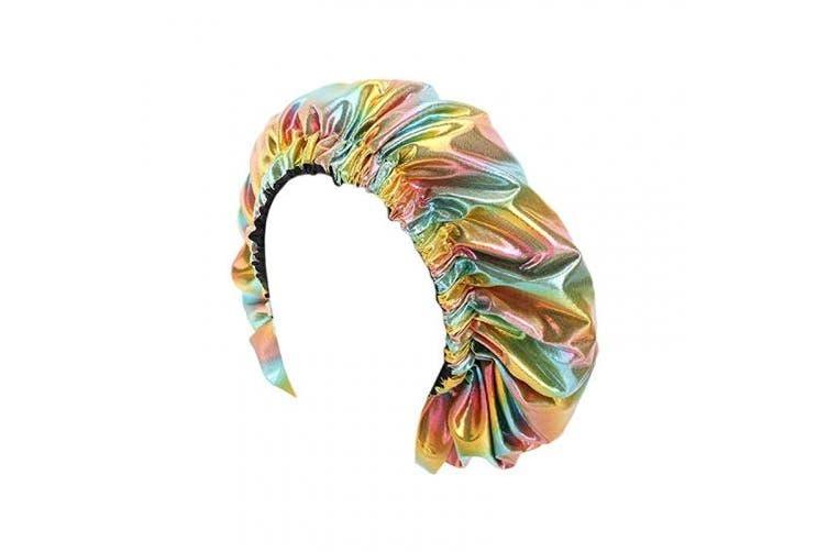 (Holographic Gold) - Surkat Women Stain Shower Caps Double Layer African Printing Bonnet Cap Bath Hat